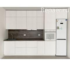 Кухонный гарнитур белый матовый с антресолью 3400 мм